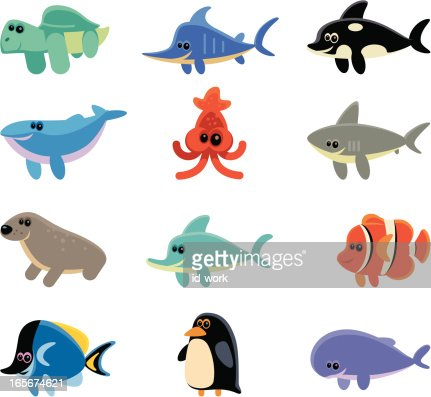 funny sea creatures vector art getty images