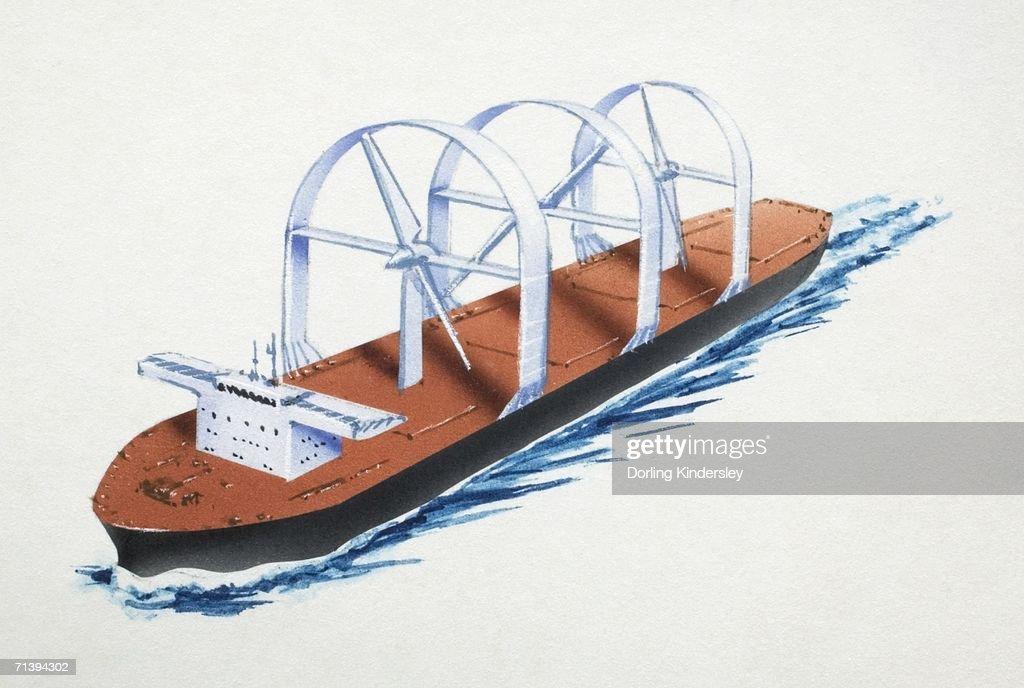 Futuristic cargo ship. : Stock Illustration
