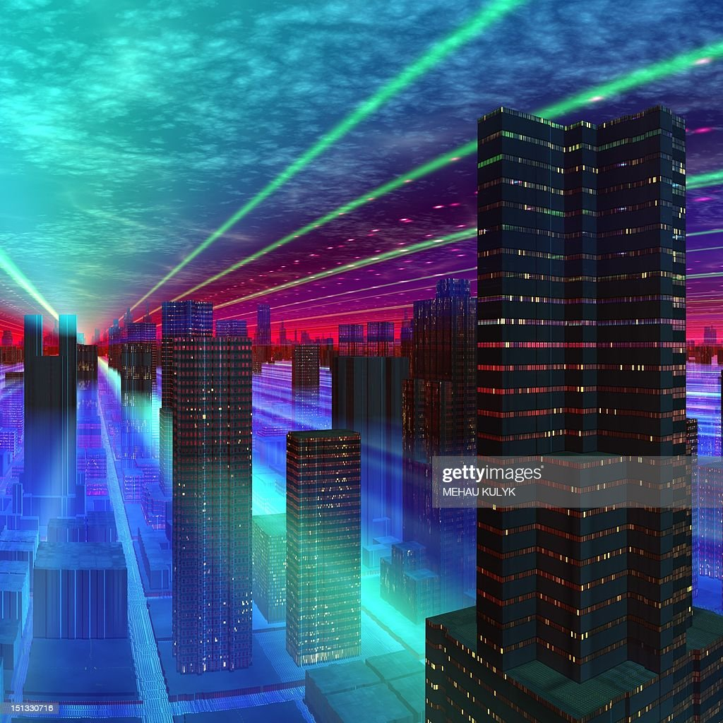Futuristic city, conceptual artwork : Stock Illustration