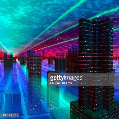 Futuristic city, conceptual artwork : Stock Illustration