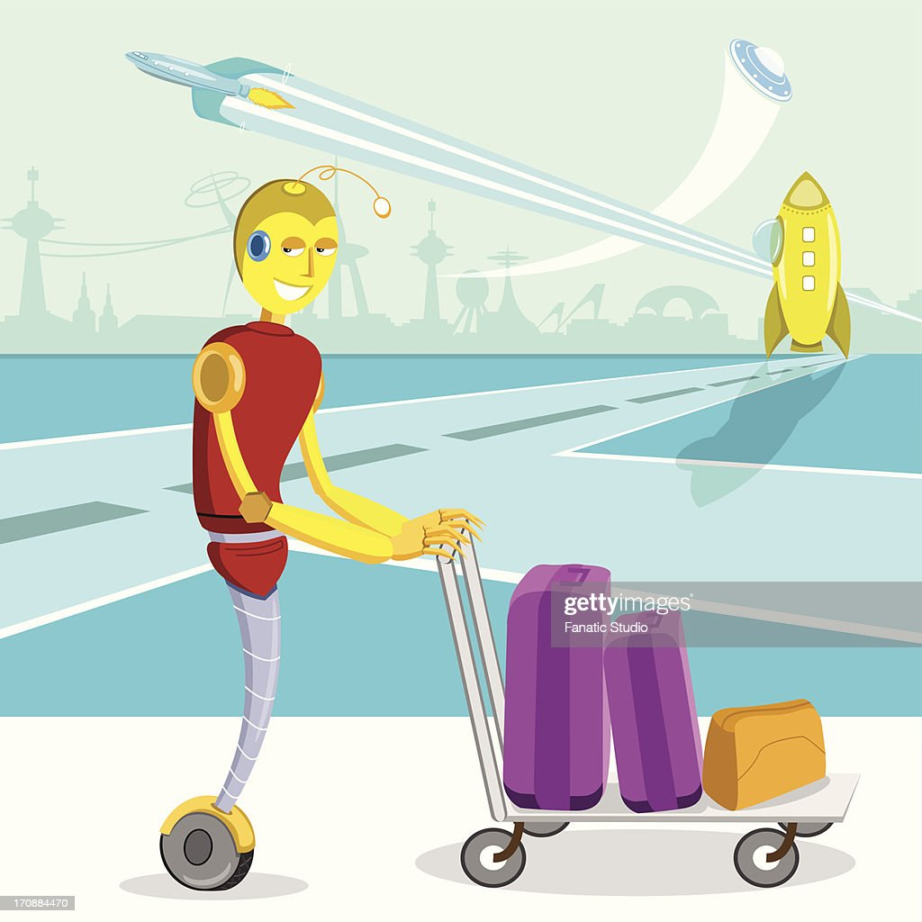 Futuristic robot pushing luggage on a cart at an airport : Vector Art