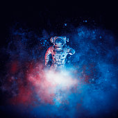 3D illustration of astronaut among glowing space dust