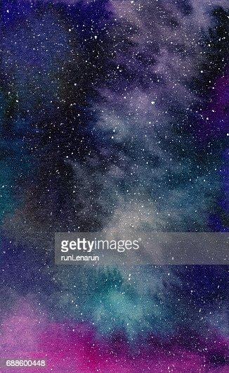 Galaxy, watercolor illustration : Stock Illustration