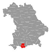 Garmisch-Partenkirchen county red highlighted in map of Bavaria Germany