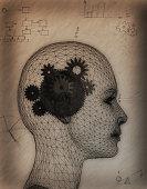 Gears Inside of a Woman's Head