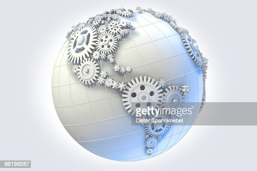 Gears on a globe in shape of america stock illustration for Gear company of america
