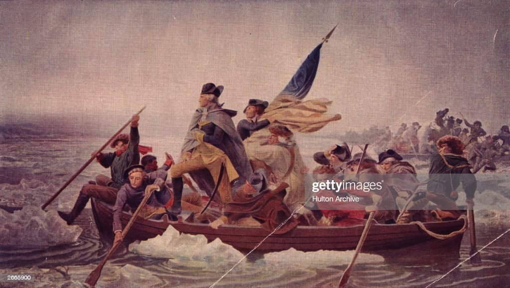 General George Washington stands in the prow of a rowing boat crossing the Delaware to seek safety in Pennysylvania after defeat by the British