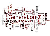 Generation Z, word cloud concept on white background.