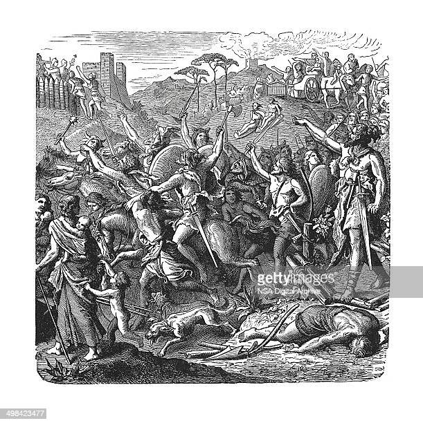 Genseric's vandals in Italy (antique engraving)