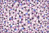 A colorful geodesic design in a variety of purple, blue, pink, and gray colors.