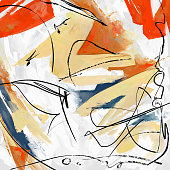Abstract painting, curly black lines and color shapes, square composition.