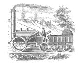 George Stephenson`s Rocket (1829) Locomotive Train with Track and conductor. Rural setting. Engraving from from Harper's New Monthly Magazine Vol. 49 Issue 291 August 1874.  Railroad engraving. Steam