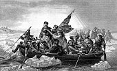 An engraved illustration of George Washington crossing the River Delaware during the American Revolutionary War, from a Victorian book dated 1886 that is no longer in copyright