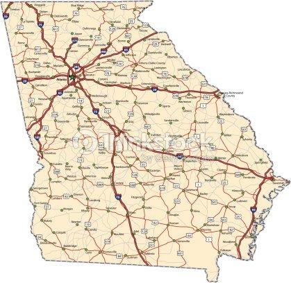 Georgia Highway Map Vector Art Thinkstock - Ga highway map