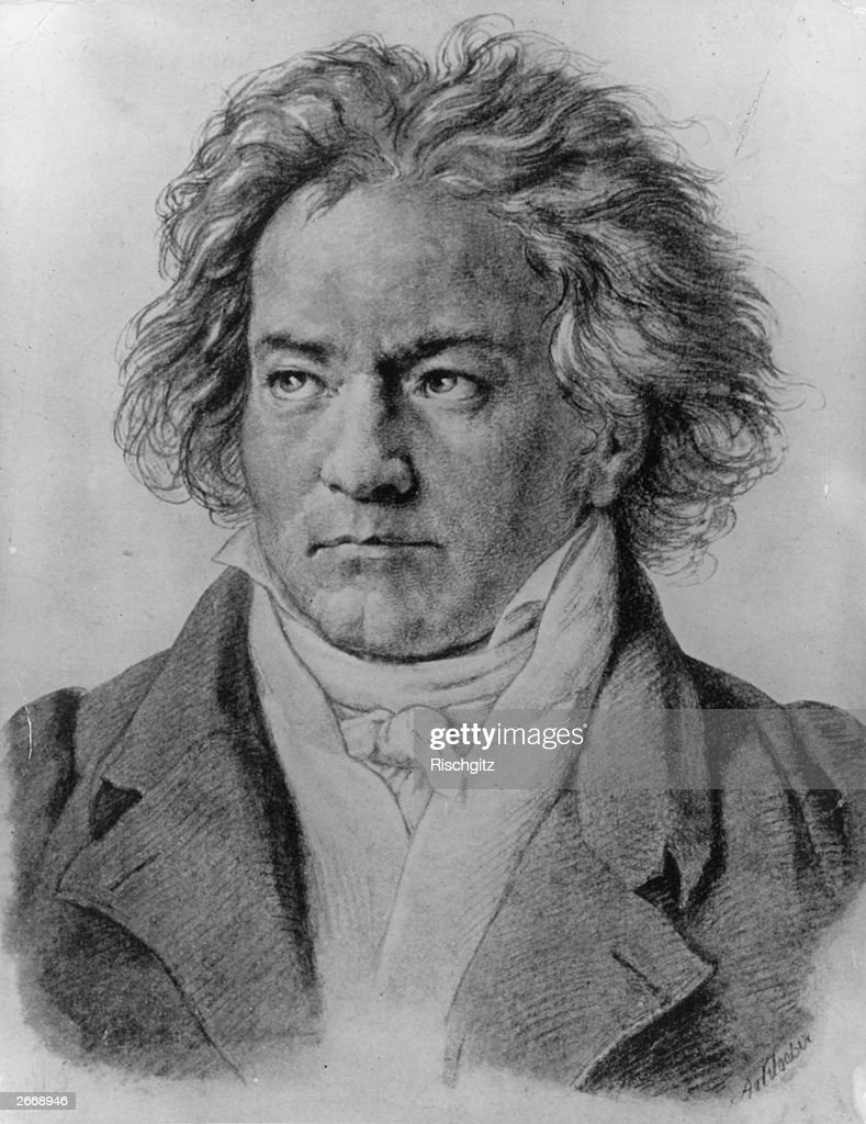 German composer <a gi-track='captionPersonalityLinkClicked' href=/galleries/search?phrase=Ludwig+van+Beethoven&family=editorial&specificpeople=67202 ng-click='$event.stopPropagation()'>Ludwig van Beethoven</a> (1770 - 1827). Original Artwork: Portrait August von Kloeber