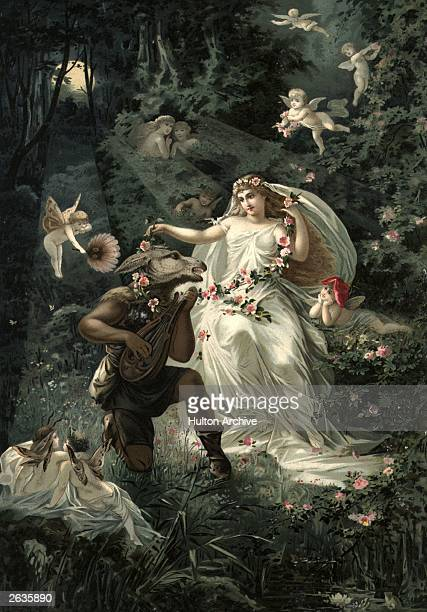 A German print illustrating a scene from Shakespeare's 'A Midsummer Night's Dream' showing Bottom wearing an asses head and the magically charmed...