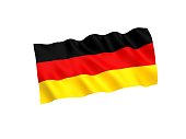 National fabric flag of Germany isolated on white background. 3d rendering illustration.