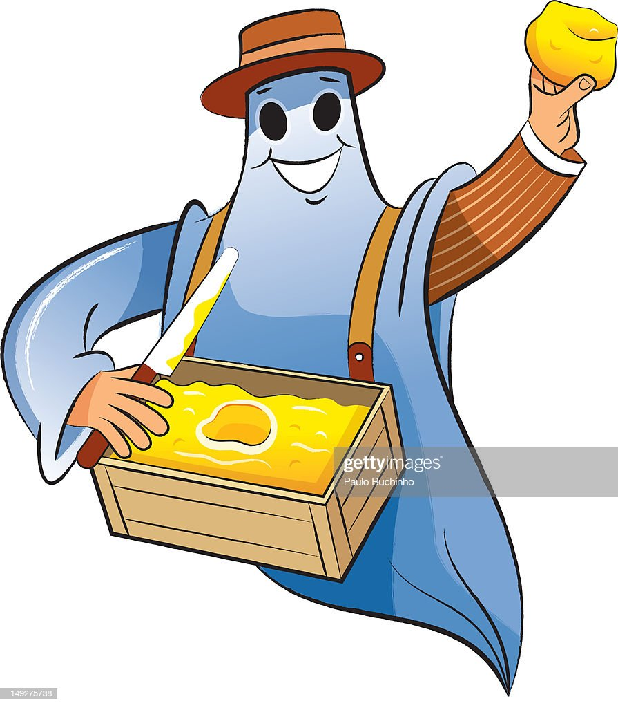 A ghost holding a box of butter : Stock Illustration