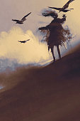 ghost with flying crows in the desert,illustration,digital painting