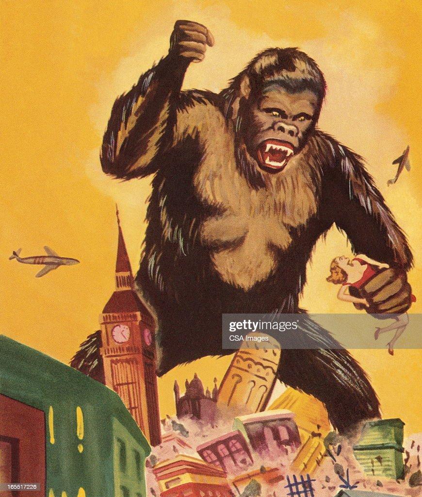 Giant Gorilla Destroying a City : Stock Illustration