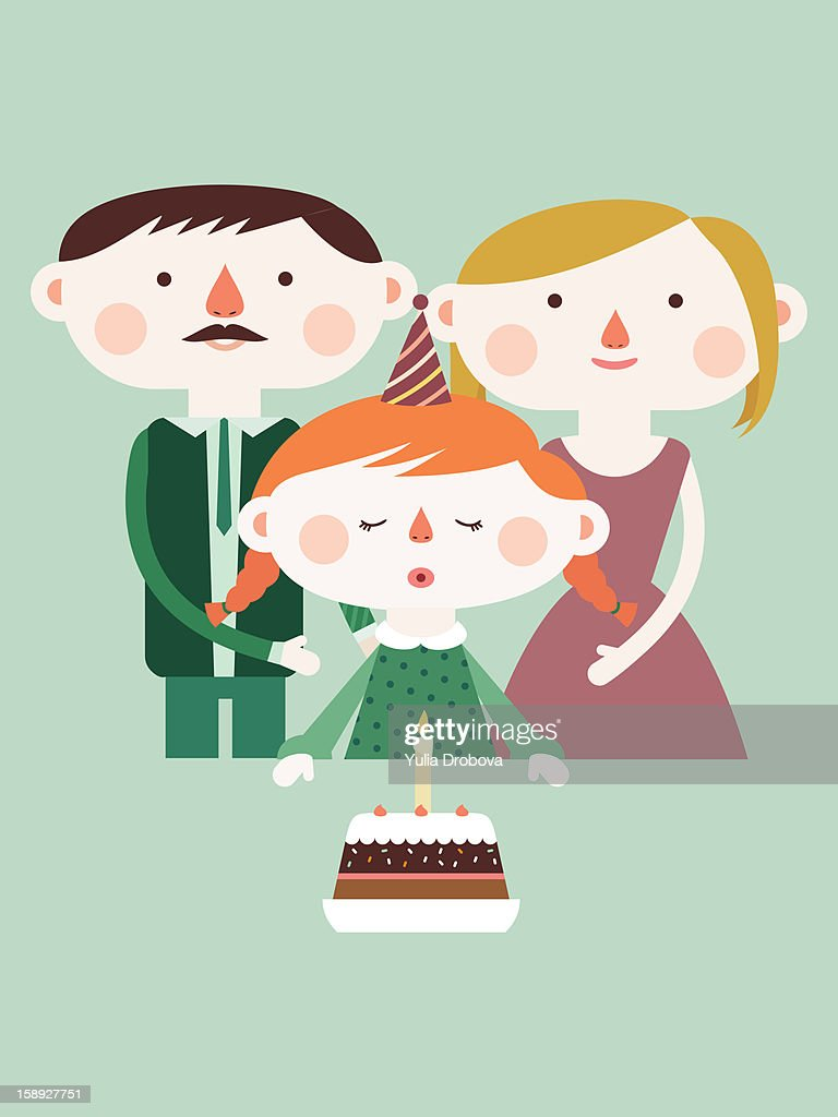 A girl blowing out birthday candles : Stock Illustration