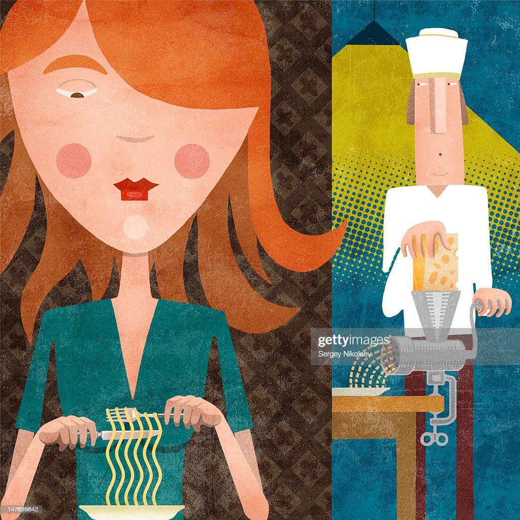 Girl eating pasta : Stock Illustration