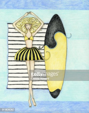A girl lying on a towel at the beach with her surf board : Stock Illustration