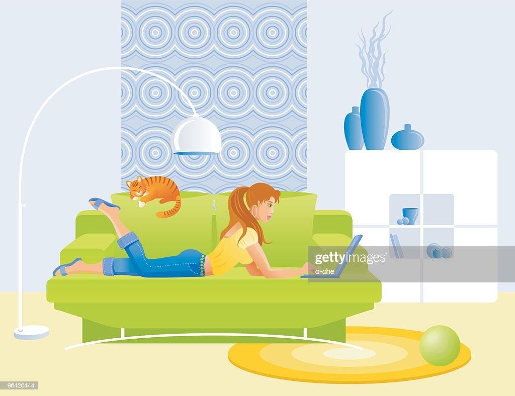 Girl, lying on sofa with notebook : Vector Art