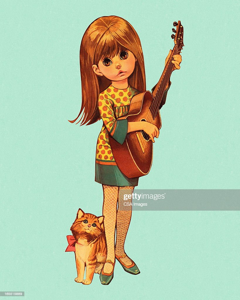 Girl Playing the Guitar : Stock Illustration