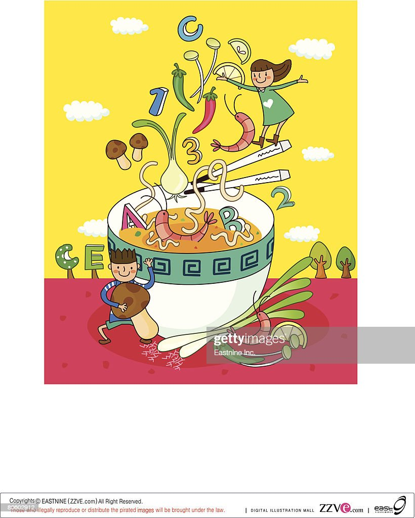 Girl pouring vegetables into a bowl of vegetable soup with a boy holding an edible mushroom : Vector Art