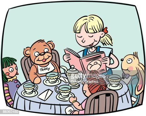 Girl Reading A Story To Her Dolls And Stuffed Animals At A Tea ...