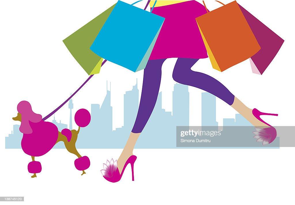 Girl shopping : Stock Illustration