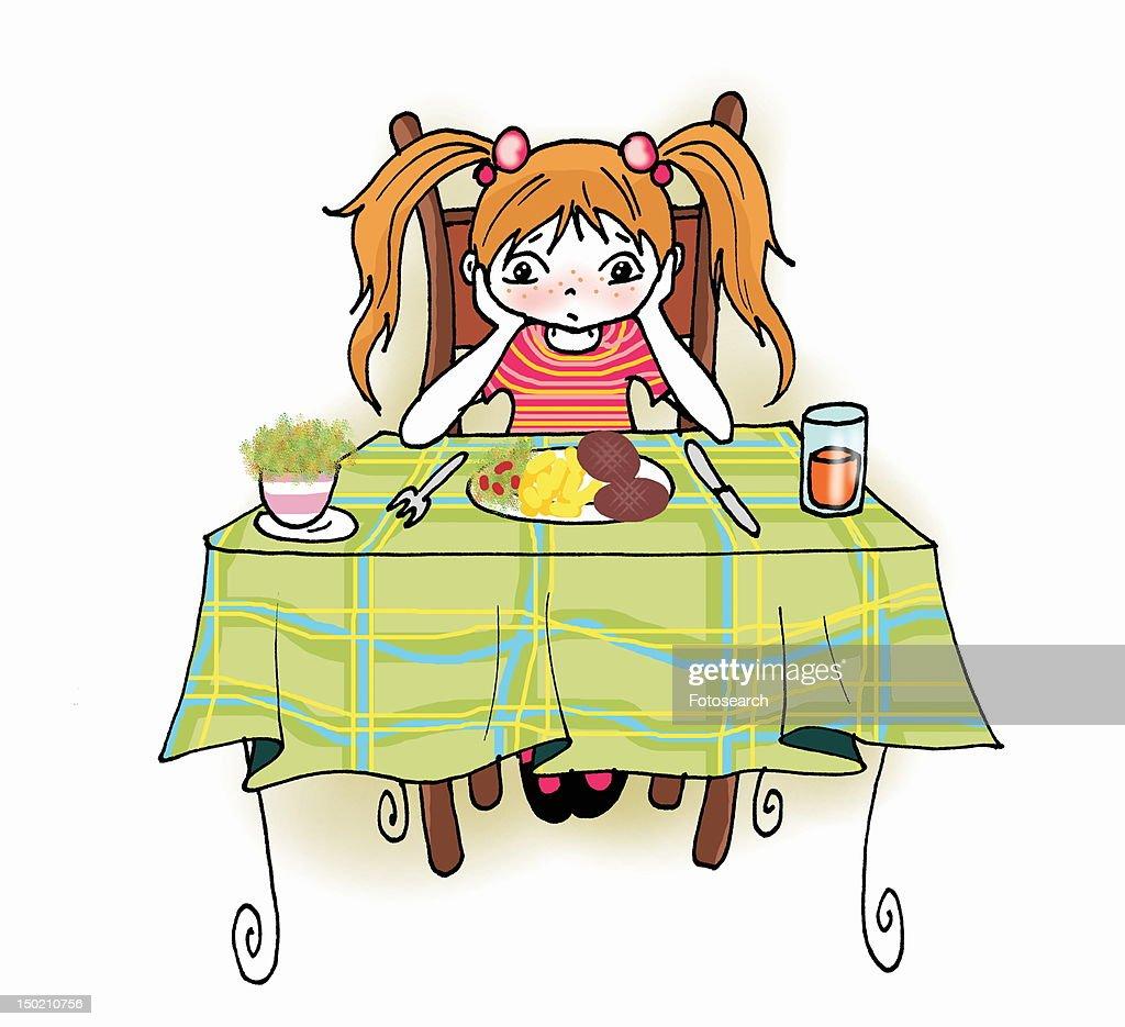 Girl sitting at dinner table : Stock Illustration