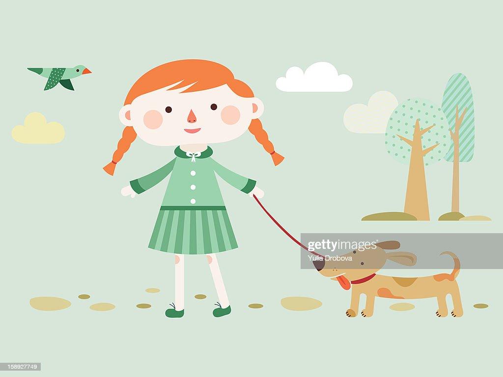 A girl walking her dog : Stock Illustration
