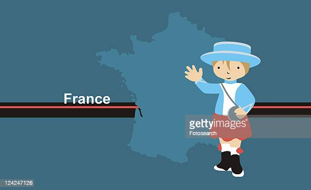 Girl wearing traditional French clothing in front of the map of France