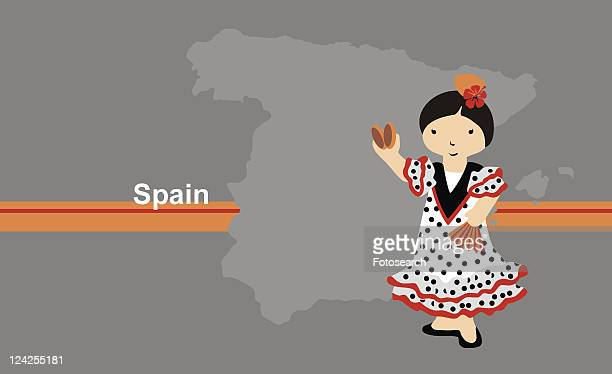 Girl wearing traditional Spanish clothing in front of the map of Spain