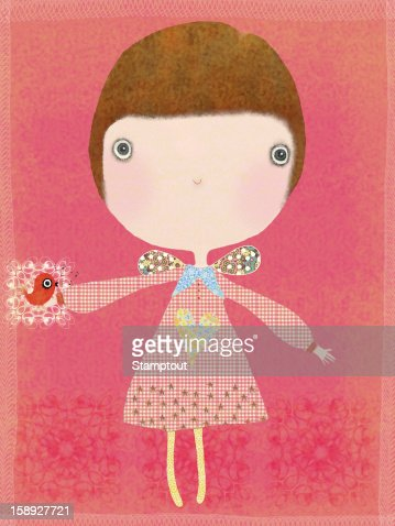 A girl with a bird in the palm of her hand : Stock Illustration