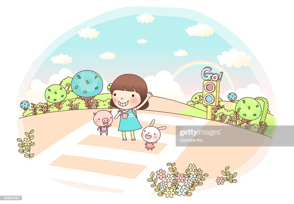 Girl with rabbit and pig standing on road, waving : Stock Illustration