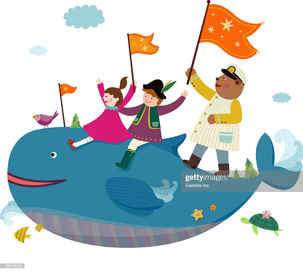 Girls and Whale : Stock Illustration