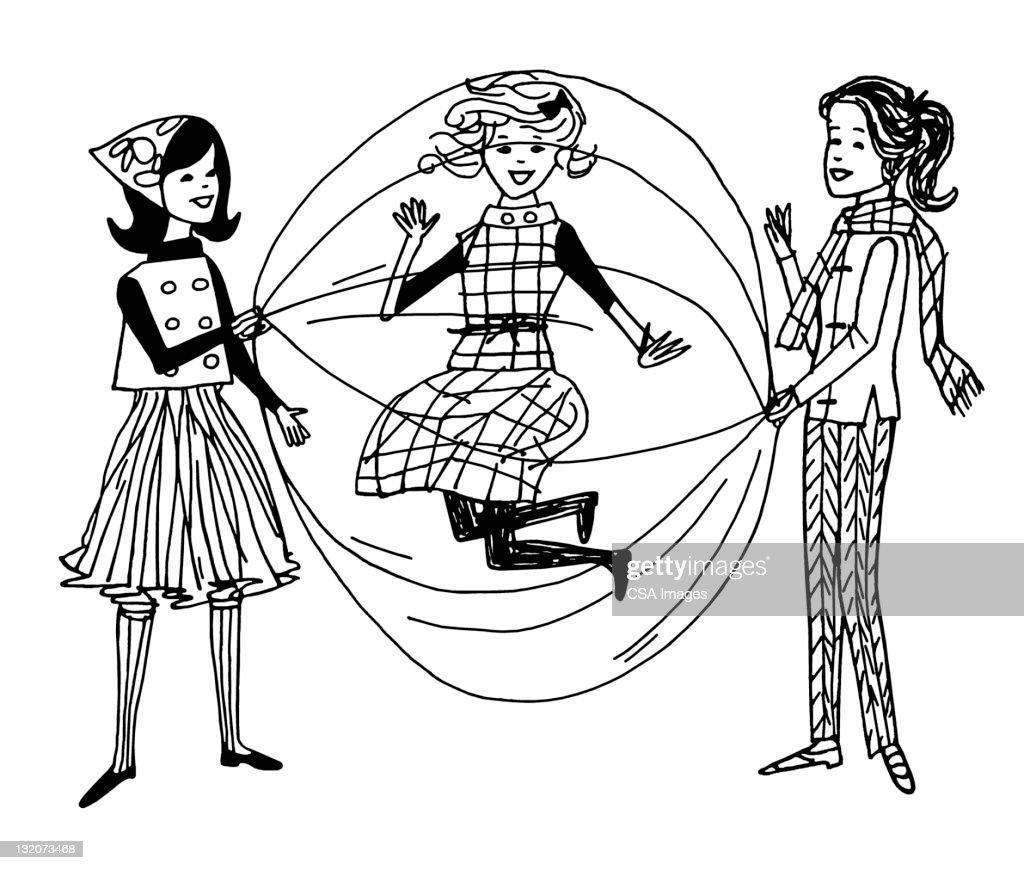 Girls Playing Double Dutch : Stock Illustration