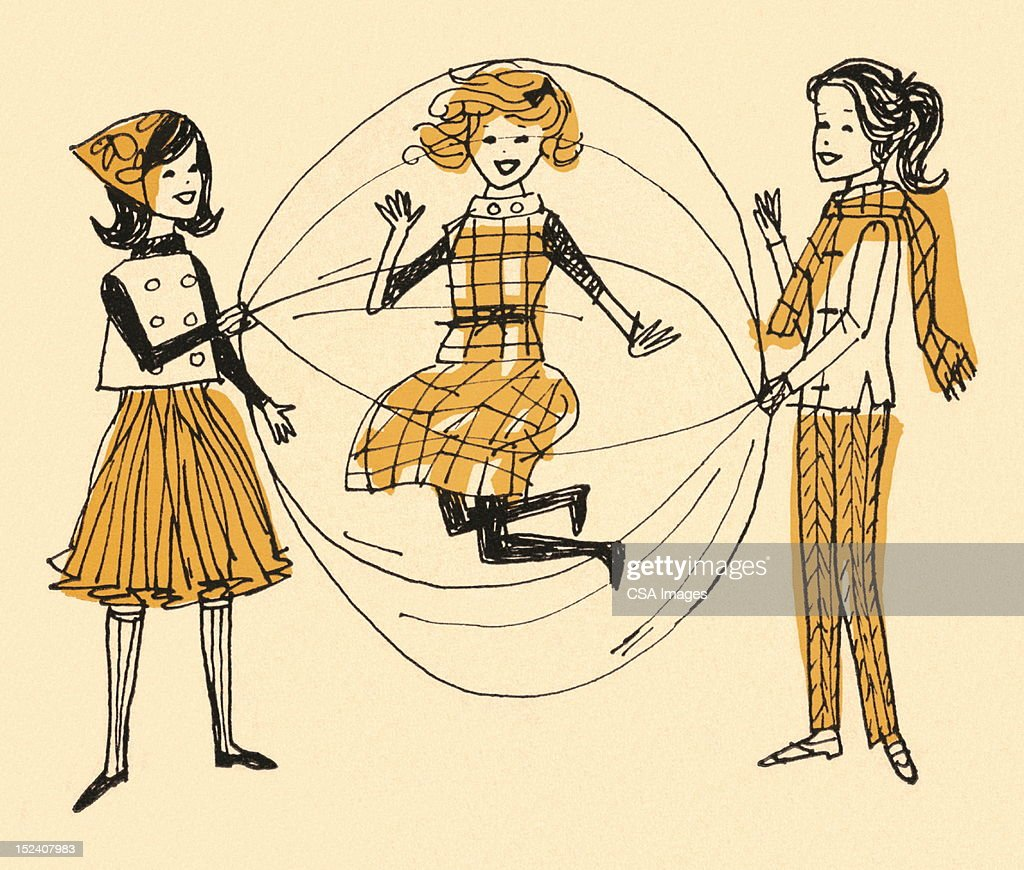 Girls Playing Double Dutch Jump Rope : Stock Illustration