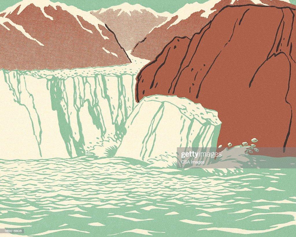 Glacier Breaking into the Sea : Stock Illustration