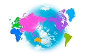 Global map with continents classified by color and Japan highlighted