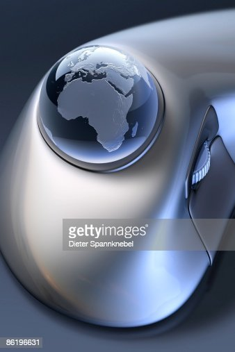 Globe as a ball in a trackball : Stock Illustration