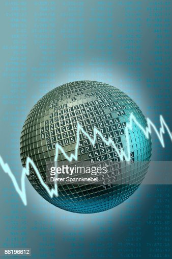 Globe in design of a stock exchange trading board : Stock Illustration