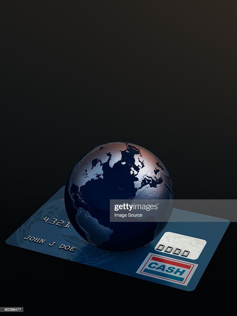 Globe on a credit card : Stock Illustration