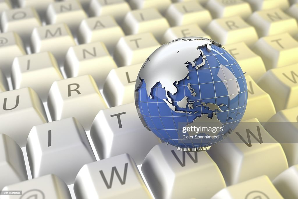 Globe on keyboard buttons shows Asia and Australia : Stock Illustration
