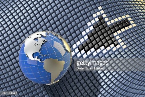 Globe shows America with a pixel arrow : Stock Illustration