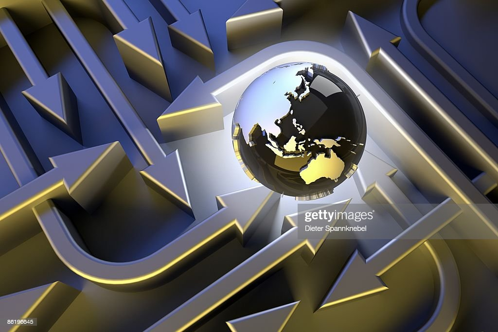 Globe shows Asia Australi in a labyrinth of arrows : Stock Illustration