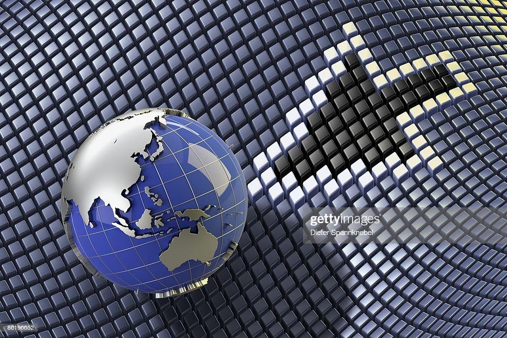 Globe shows Asia Australia with a pixel arrow : Stockillustraties